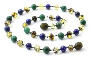African Jade, Gemstone, Baltic Amber, Green, Lapis Lazuli, Blue, Necklace, Teething 2