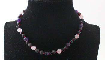 Amber Cherry Certified Necklace Mixed With Amethyst and Quartz 4
