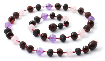 Amber Cherry Certified Necklace Mixed With Amethyst and Quartz 2