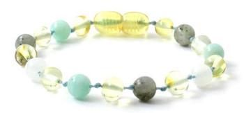 Polished Baltic Amber, Lemon, Anklet, Bracelet, Teething, Amazonite, With Gemstones, Labradorite, Moonstone