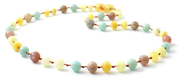 Milky Amber Raw Teething Necklace Mixed With Amazonite and Sunstone