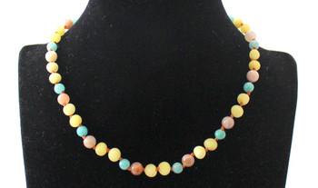 Milky Amber Raw Teething Necklace Mixed With Amazonite and Sunstone 4