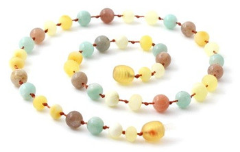 Milky Amber Raw Teething Necklace Mixed With Amazonite and Sunstone 2