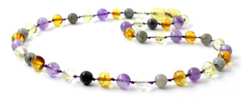 Amethyst, Mix, Polished, Baltic Amber, Labradorite, Necklace, Violet, Teething