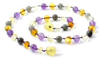 Amethyst, Mix, Polished, Baltic Amber, Labradorite, Necklace, Violet, Teething 2