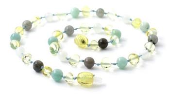 Lemon, Necklace, Baltic Amber, Moonstone, Polished, Labradorite, Teething, Amazonite 2