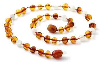 Cognac, Moonstone, Baltic Amber, Polished, Necklace, Teething, White, Gemstone 2