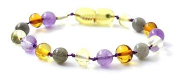 Multicolor, Labradorite, Polished, Anklet, Amethyst, Baltic Amber, Bracelet