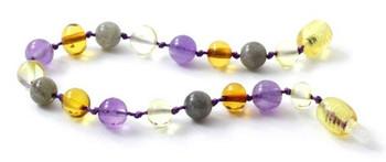 Multicolor, Labradorite, Polished, Anklet, Amethyst, Baltic Amber, Bracelet 2