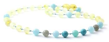 Gemstone, Raw Lemon, Aquamarine, Baltic Amber, Labradorite, Teething, Turquoise, Necklace