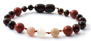Moonstone, Cherry, Polished, Necklace, Baltic Amber, Sunstone, Teething, Red Jasper