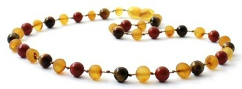 Raw Honey, Tiger Eye, Teething, Unpolished, Red Jasper, Necklace, Baltic Amber