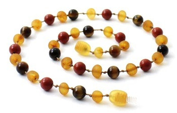 Raw Honey, Tiger Eye, Teething, Unpolished, Red Jasper, Necklace, Baltic Amber 2