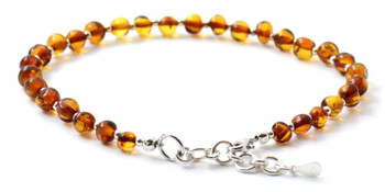 Amber, Baltic, Anklet, Jewelry, Silver, Cognac, Sterling 925, Adjustable, Polished