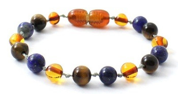 Lapis Lazuli, Cognac, Baltic Amber, Blue, Bracelet, Teething, Tiger Eye, Anklet