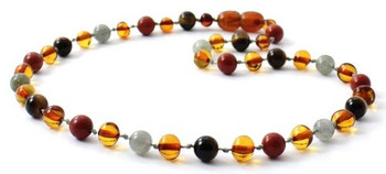 Red Jasper, Baltic Amber, Necklace, Tiger Eye, Labradorite, Polished Cognac, Jewelry