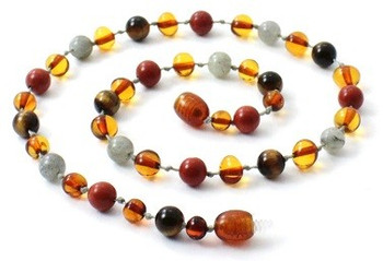 Red Jasper, Baltic Amber, Necklace, Tiger Eye, Labradorite, Polished Cognac, Jewelry 2