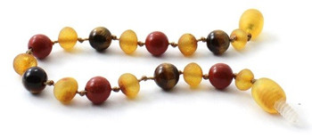 Red Jasper, Bracelet, Baltic, Raw Honey, Tiger Eye, Amber, Unpolished, Teething 2
