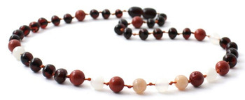 Cherry, Red Jasper, Baltic Amber, Moonstone, Necklace, Teething, Polished, Sunstone