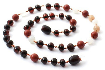 Cherry, Red Jasper, Baltic Amber, Moonstone, Necklace, Teething, Polished, Sunstone 2