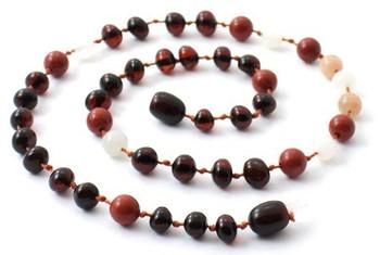 Cherry, Red Jasper, Baltic Amber, Moonstone, Necklace, Teething, Polished, Sunstone 2