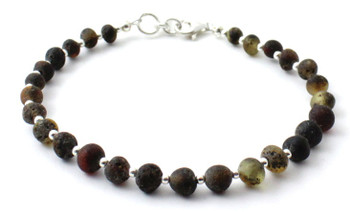 Raw, Amber, Unpolished, Green, Sterling 925, Bracelet, Adult, Silver, Jewelry, Baltic