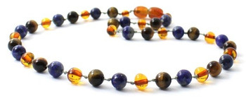 Lapis Lazuli, Baltic Amber, Cognac, Necklace, Tiger Eye, Teething, Polished, Jewelry