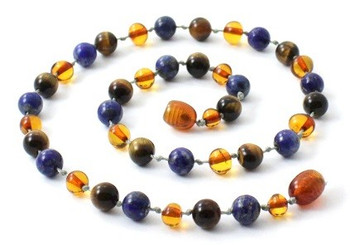 Lapis Lazuli, Baltic Amber, Cognac, Necklace, Tiger Eye, Teething, Polished, Jewelry 2