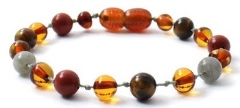 Bracelet, Teething, Red Jasper, Baltic Amber, Anklet, Labradorite, Tiger Eye, Gemstone