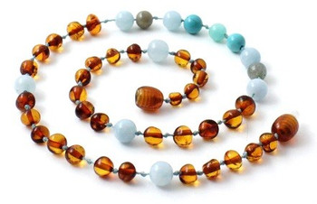 Gemstone, Baltic Amber, Cognac, Aquamarine, Necklace, Labradorite, Teething 2