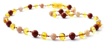 Polished Honey, Red Jasper, Golden, Teething, Necklace, Sunstone, Baltic Amber