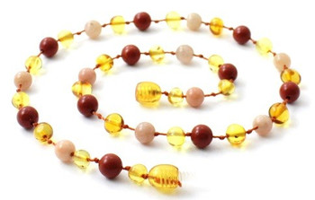 Polished Honey, Red Jasper, Golden, Teething, Necklace, Sunstone, Baltic Amber 2