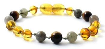 Tiger Eye, Honey, Bracelet, Polished, Amber, Labradorite, Anklet, Teething, Genuine