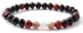Cherry, Women, Moonstone, Baltic, Stretch, Jewelry, Polished, Bracelet, Red Jasper, Sunstone
