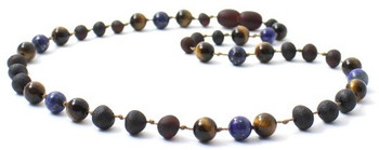Tiger Eye, Necklace, Raw, Cherry, Lapis Lazuli, Unpolished, Teething, Gemstone