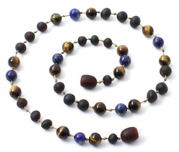 Tiger Eye, Necklace, Raw, Cherry, Lapis Lazuli, Unpolished, Teething, Gemstone 2