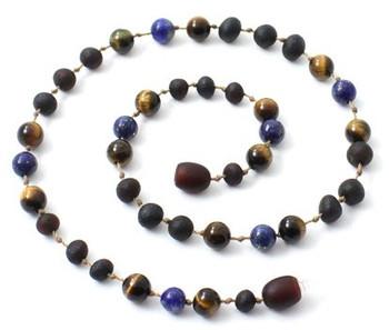 Tiger Eye, Necklace, Raw, Cherry, Lapis Lazuli, Unpolished, Teething, Gemstone 2