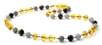 Tiger Eye, Honey, Baltic Amber, Labradorite, Polished, Necklace, Teething, Gemstone