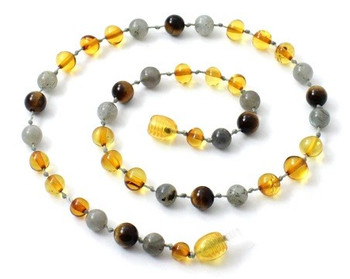 Tiger Eye, Honey, Baltic Amber, Labradorite, Polished, Necklace, Teething, Gemstone 2