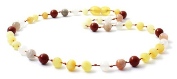 Butter, Necklace, Milky, Raw, Baltic Amber, Unpolished, Teething, Red Jasper, Sunstone, Jewelry, Moonstone
