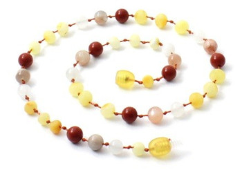 Butter, Necklace, Milky, Raw, Baltic Amber, Unpolished, Teething, Red Jasper, Sunstone, Jewelry, Moonstone 2