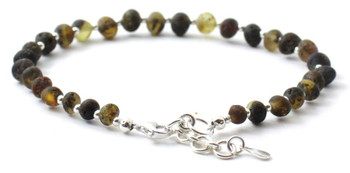 Raw, Silver, Anklet, Green, Baltic Amber, Unpolished, Sterling 925, Jewelry
