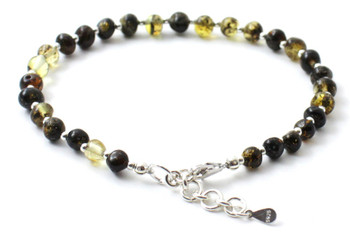 Silver, Amber, Green, Anklet, Polished, Jewelry Baltic, Sterling 925, Adjustable