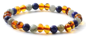 Bracelet, Labradorite, Stretch, Polished, Cognac, Lapis Lazuli, Baltic Amber, Jewelry