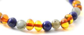 Bracelet, Labradorite, Stretch, Polished, Cognac, Lapis Lazuli, Baltic Amber, Jewelry 2