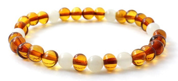 Cognac, Baltic, Bracelet, Polished, Stretch, White, Moonstone, Jewelry, Amber