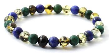 Green, Stretch, Amber, Jewelry, Bracelet, African Jade, Gemstone, Lapis Lazuli, Blue