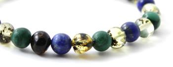 Green, Stretch, Amber, Jewelry, Bracelet, African Jade, Gemstone, Lapis Lazuli, Blue 2