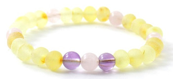 Rose Quartz, Lemon, Raw, Stretch, Baltic Amber, Bracelet, Unpolished, Amethyst