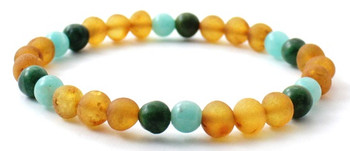 Unpolished, Stretch Bracelet, African Jade, Jewelry, Baltic Amber, Raw, Honey, Amazonite, Green